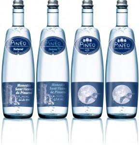 Pineo water range in 1 l glass bottles