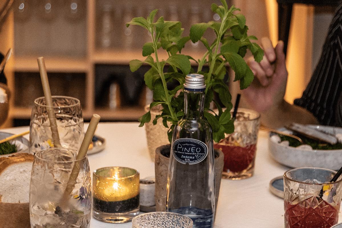 Pineo aigua mineral natural a la taula al Taste a Löwen