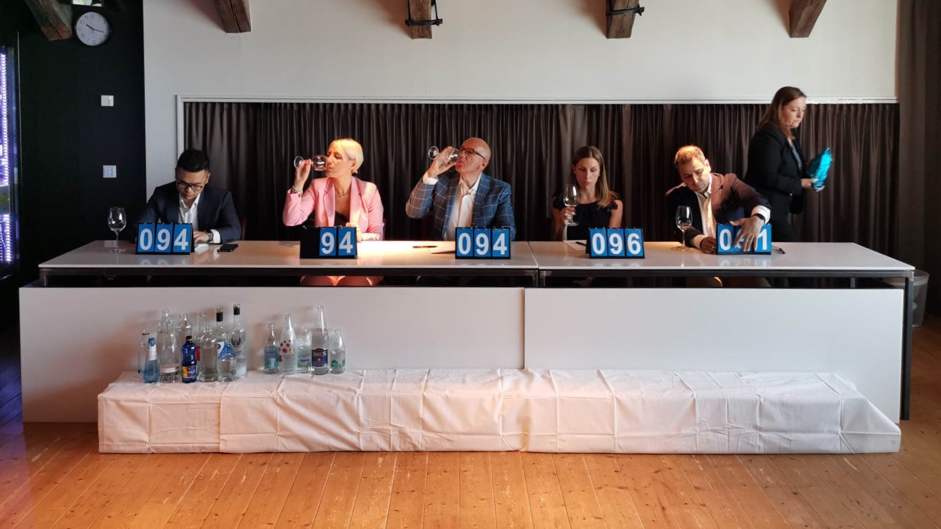 The judges at the water taste awards in Stockholm