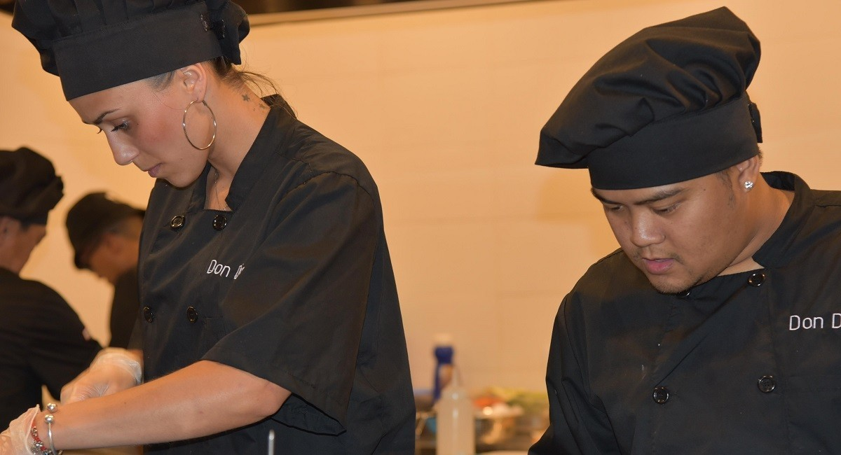 Kitchen staff from the famous Don Diego restaurant in Sotogrande at work