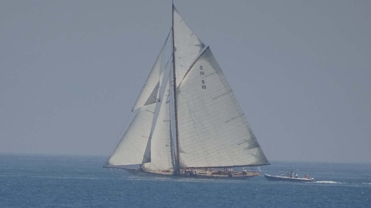 A beautiful classic sailing ship at sea during the sailing regatta in Sotogrande